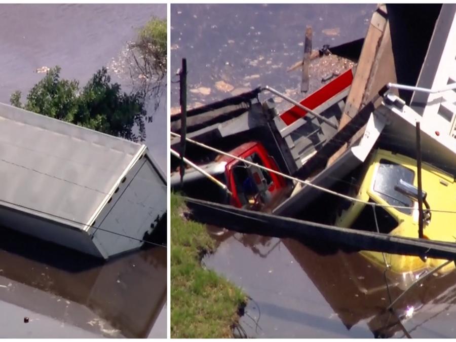Varios camiones son tragados por un sumidero en Orlando, Florida