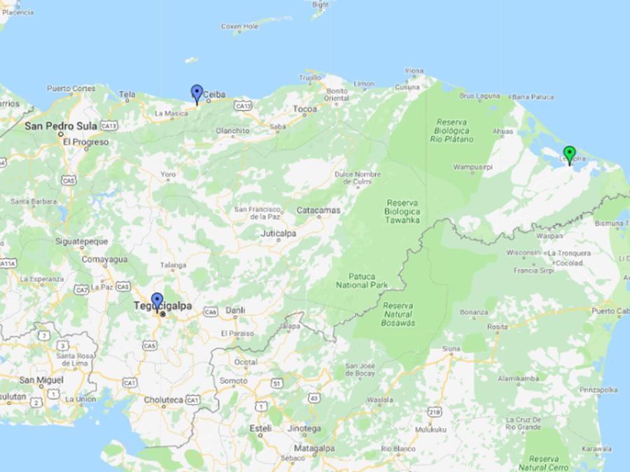Mapa donde naufragó embarcación de pescadores en Honduras