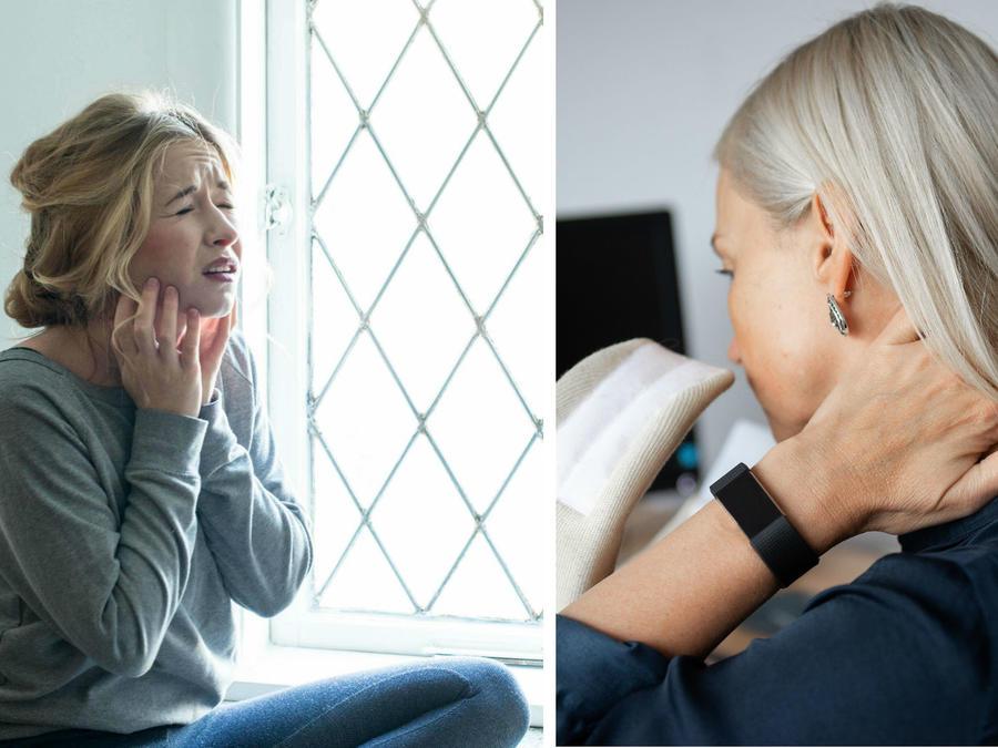 Mujeres tocándose la garganta y el cuello