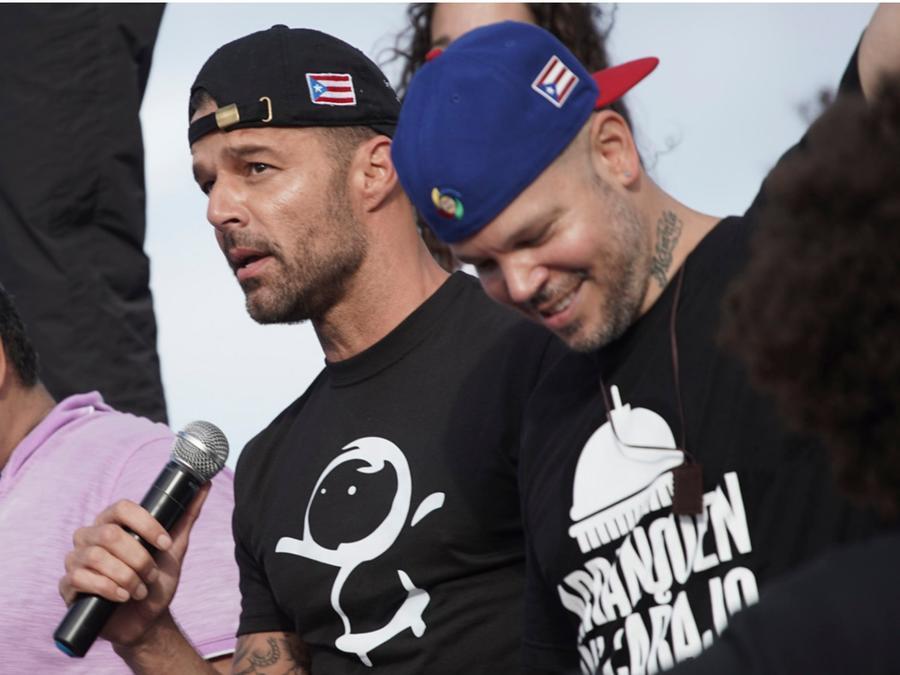 Ricky Martin y Residente en marcha por Puerto Rico