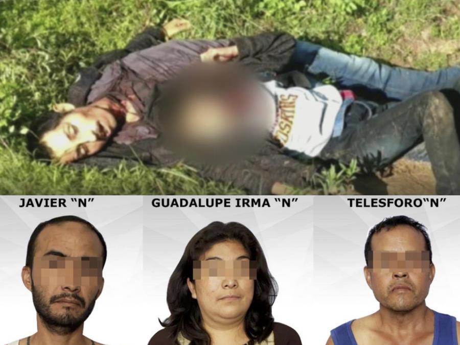 Arriba, imagen de Rudi Arnoldo y su hijo tras ser hallados. Debajo, los tres sospechosos del crimen. Arriba, imagen de Rudi Arnoldo y su hijo tras ser hallados. Debajo, los tres sospechosos del crimen.