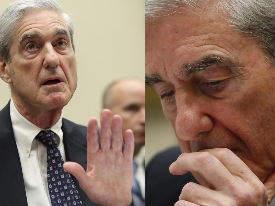 Robert Mueller, en dos momentos de su declaración este miércoles ante la Cámara de Representantes