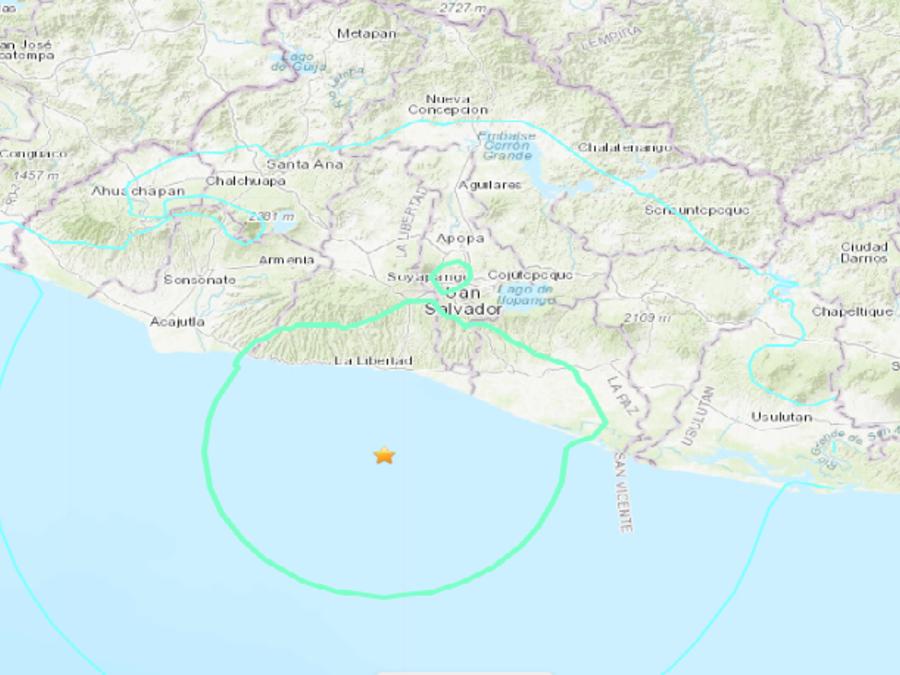 Mapa en el que se indica el epicentro del sismo de este martes.