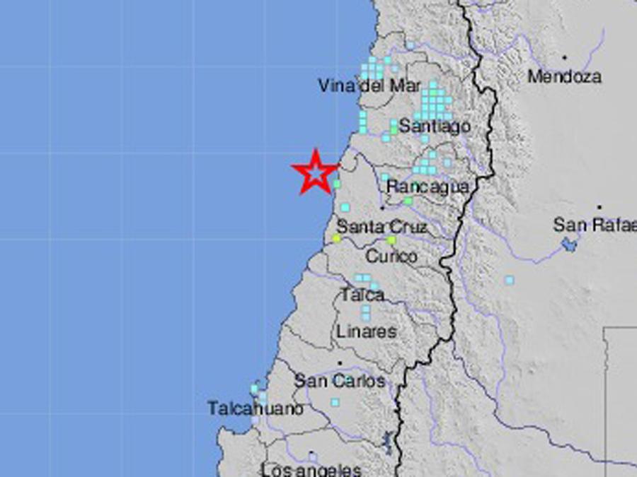 Mapa de Chile donde sucedió el terremoto de 6,8 grados