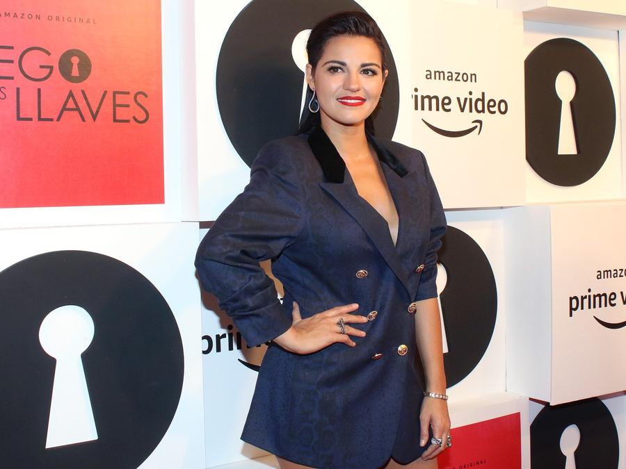 Maite Perroni on red carpet of the TV show 'El Juego de las Llaves'