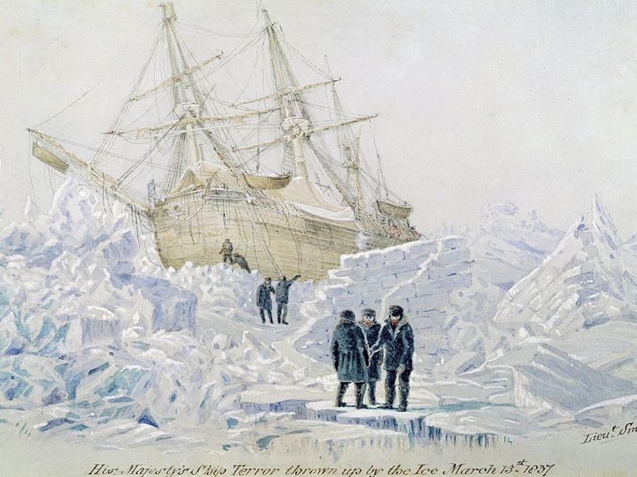 El HMS Terror atrapado en el hielo en un dibujo del Lugarteniente Smyth.