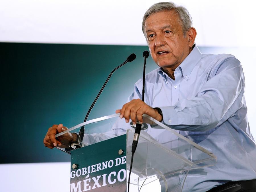 El presidente de México, Andrés Manuel López Obrador, durante una conferencia de prensa de este sábado en el estado de Tamaulipas.