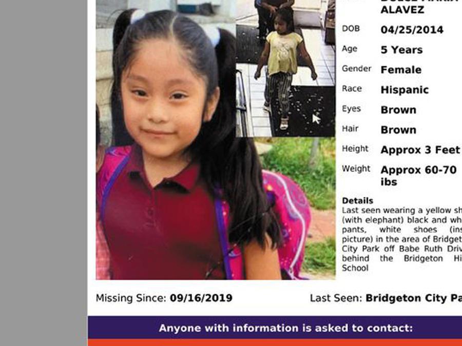 Cartel de la policía para encontrar a la niña Dulce Maria Alaves