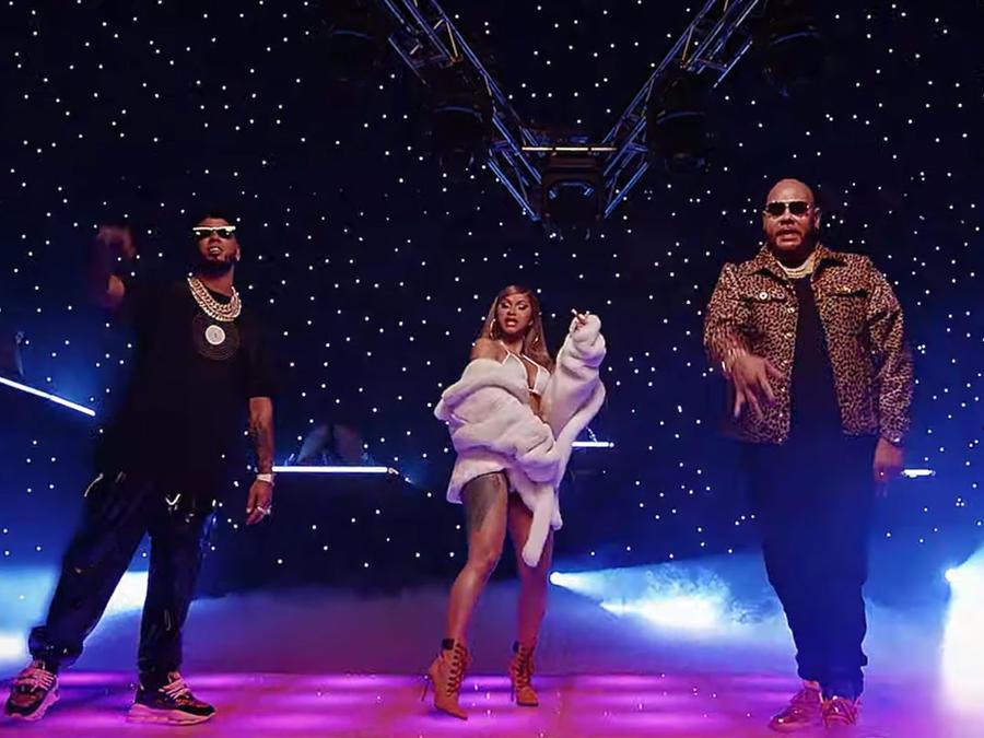 Anuel AA, Cardi B, and Fat Joe in music video