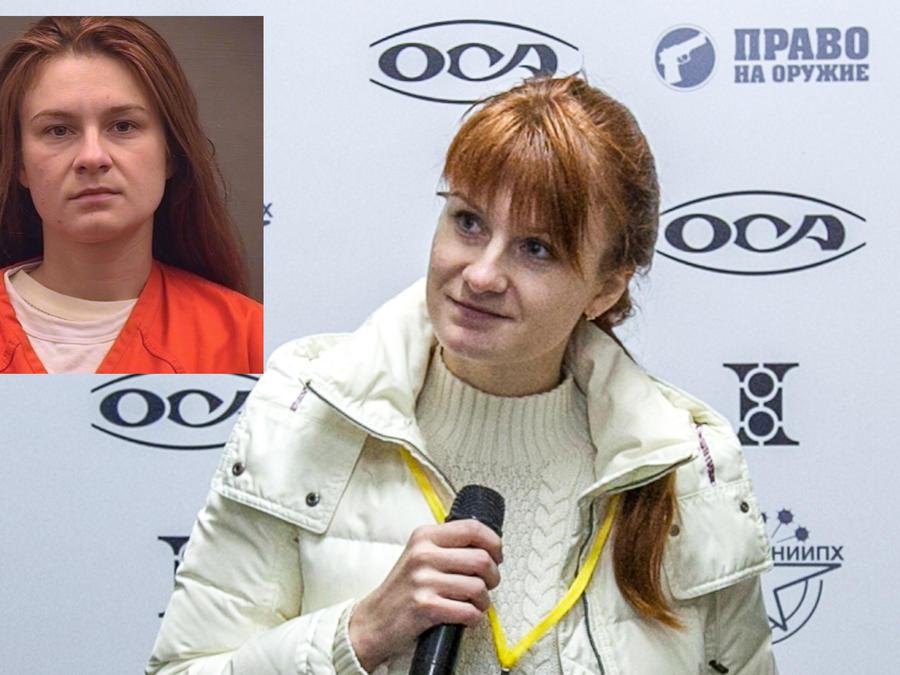 Mariia Butina, en una conferencia de prensa en Moscú (Rusia) el 8 de octubre de 2013. A la izquierda, su foto tras ser detenida.