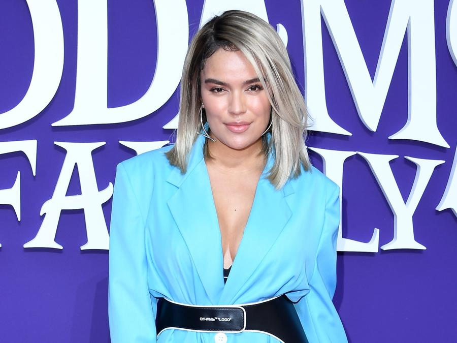 Karol G at the Addams Family premiere