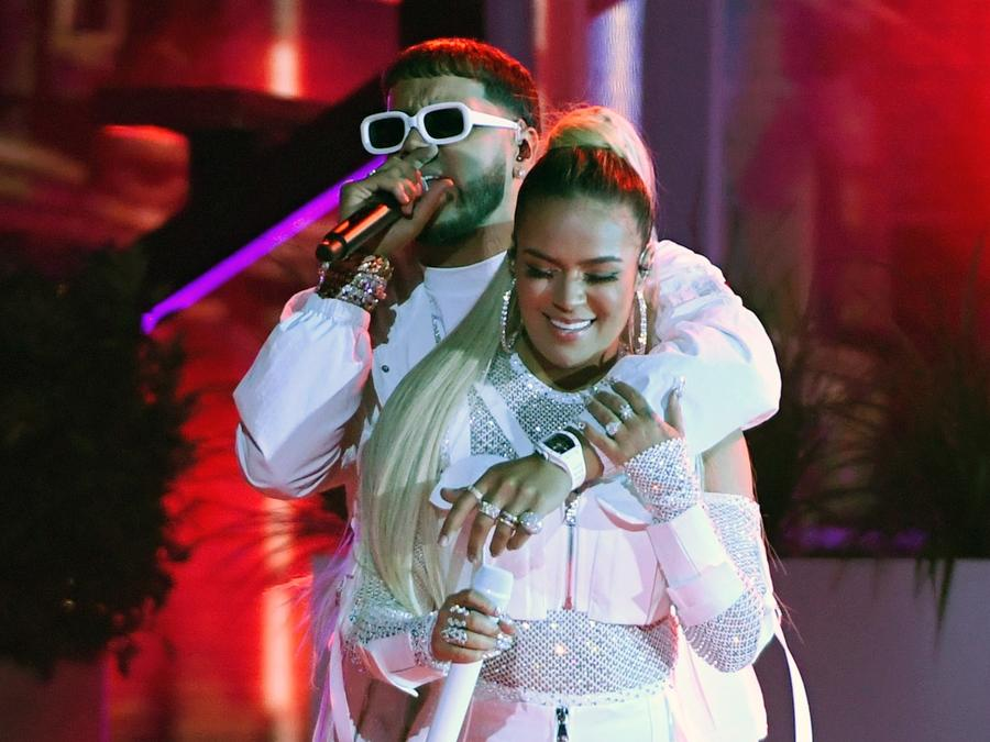 Karol G and Anuel AA perform at the 2019 Billboard Latin Music Awards