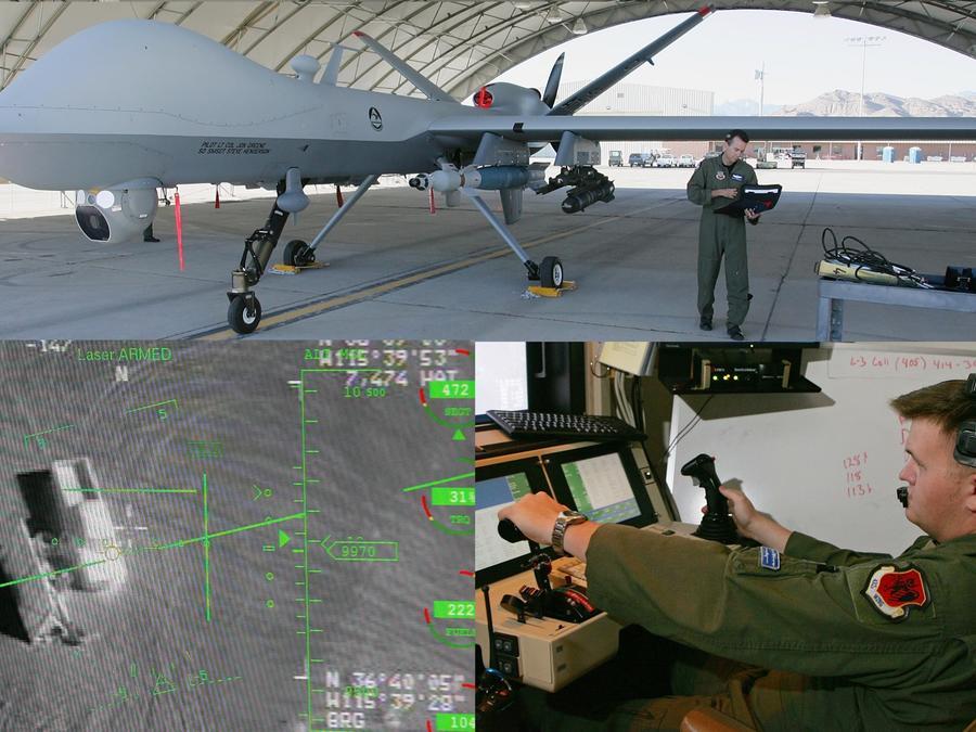 Arriba, un dron MQ-9 Reaper. Debajo, un operador que lo pilota (izquierda), y la pantalla de una de sus cámaras.