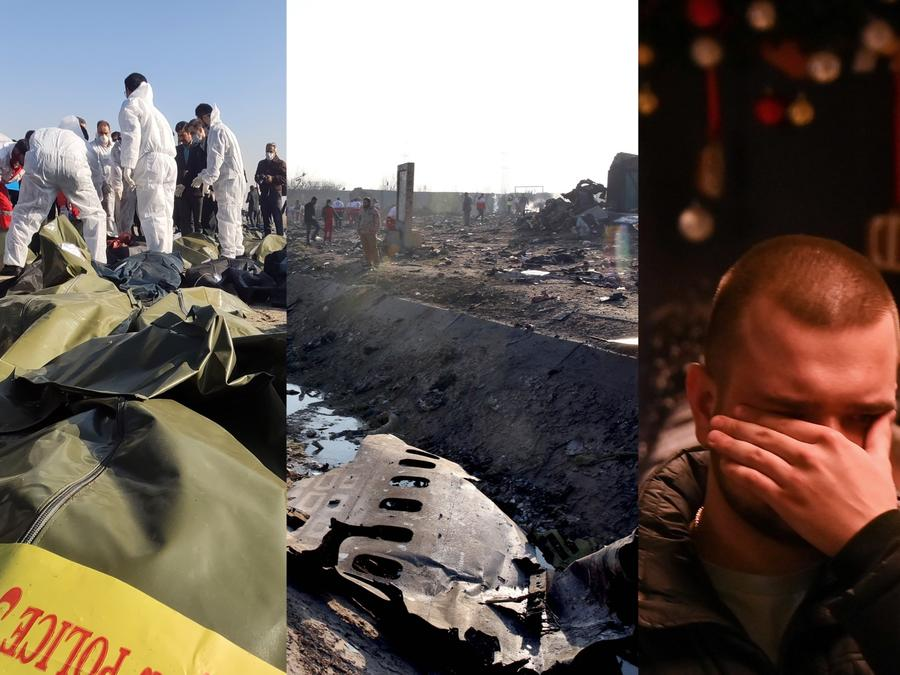 Trabajos de los equipos de rescate en Irán, y una persona afectada por el incidente.