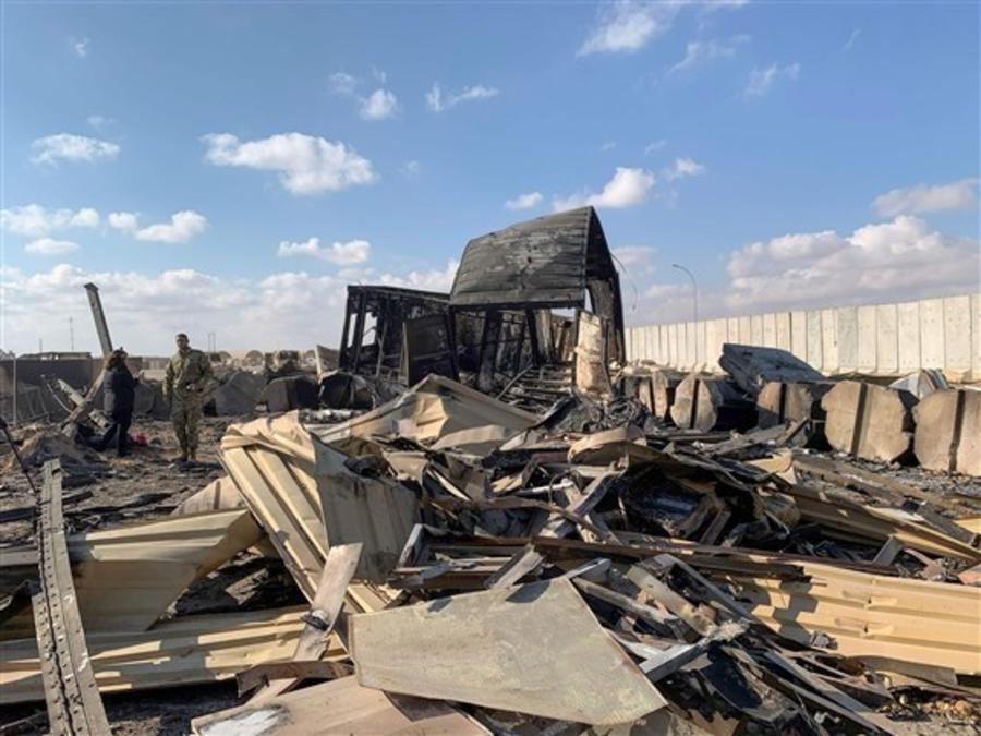 Daños en la base de al-Asad, en Irak, tras el ataque de misiles iraní en respuesta a la muerte del general Soleimani.