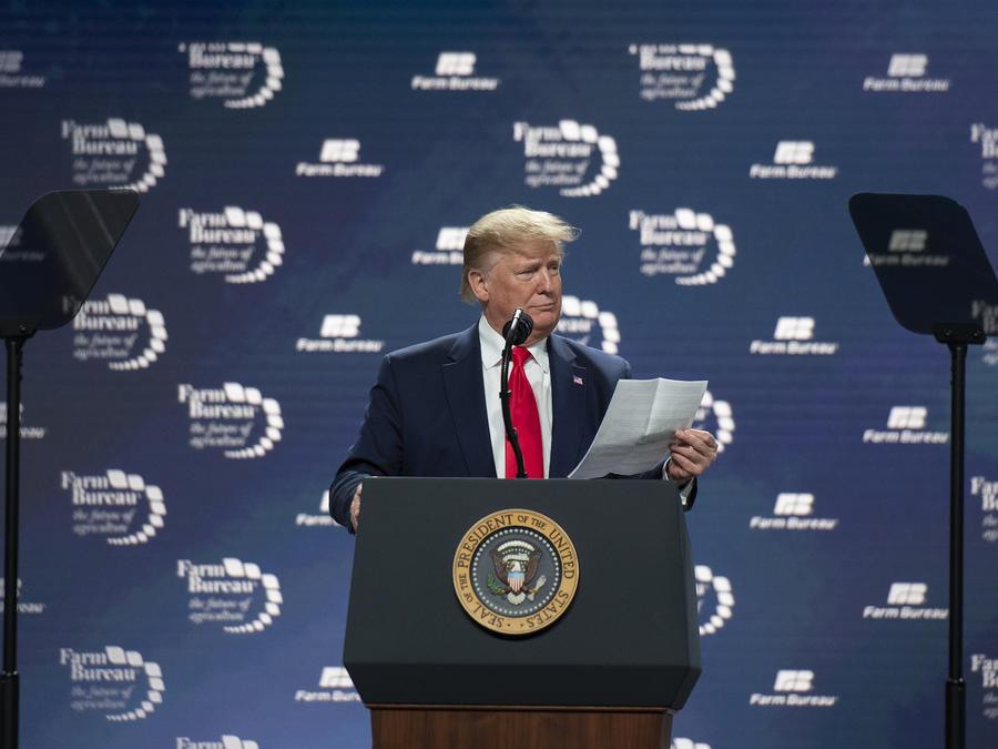 Trump, durante un discurso el domingo en Austin (Texas).