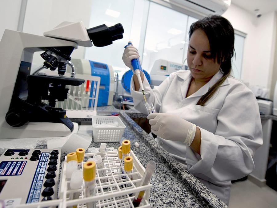 Una técnico de laboratorio examina una muestra de sangre en una clínica de Río de Janeiro, Brasil.