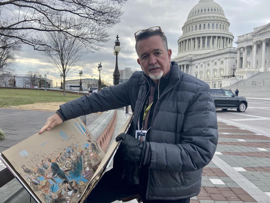 El dibujante Bill Hennessy es uno de tres artistas contratados para proporcionar las imágenes del juicio político en el pleno del Senado contra Trump