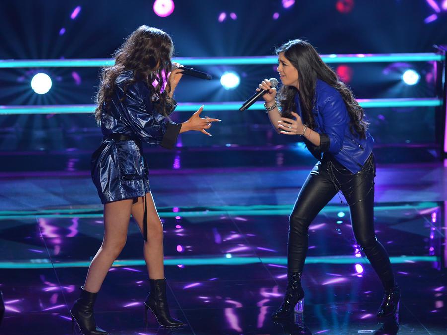 Karen Galera y Diana Sofia Chiriboga en las batallas de La Voz US 2