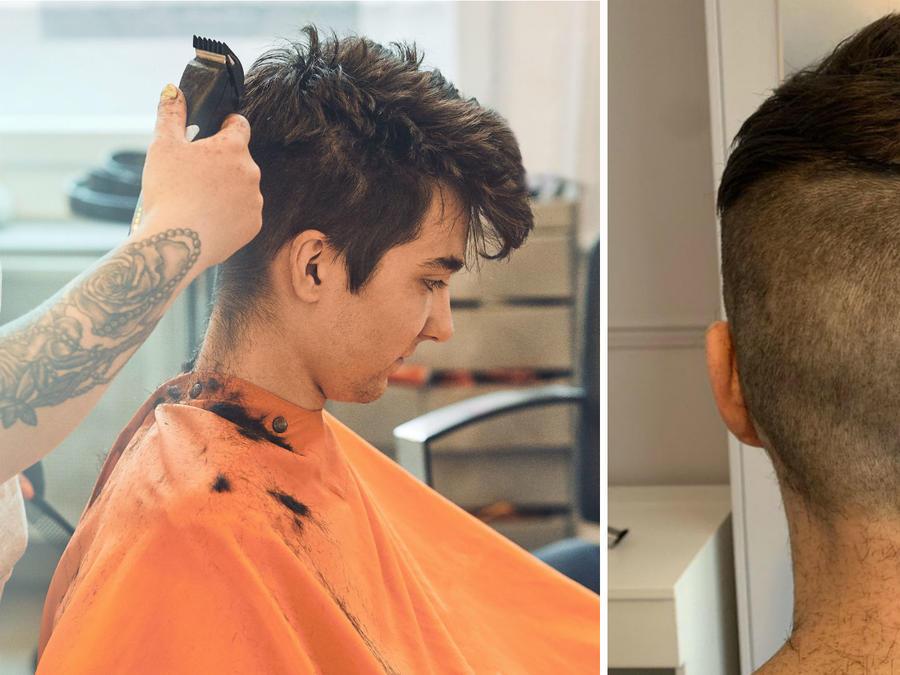 Mujer cortando el cabello a su novio