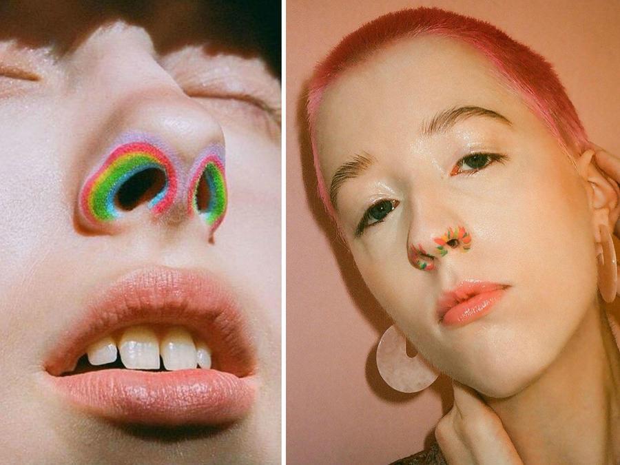 Mujeres con la nariz maquillada