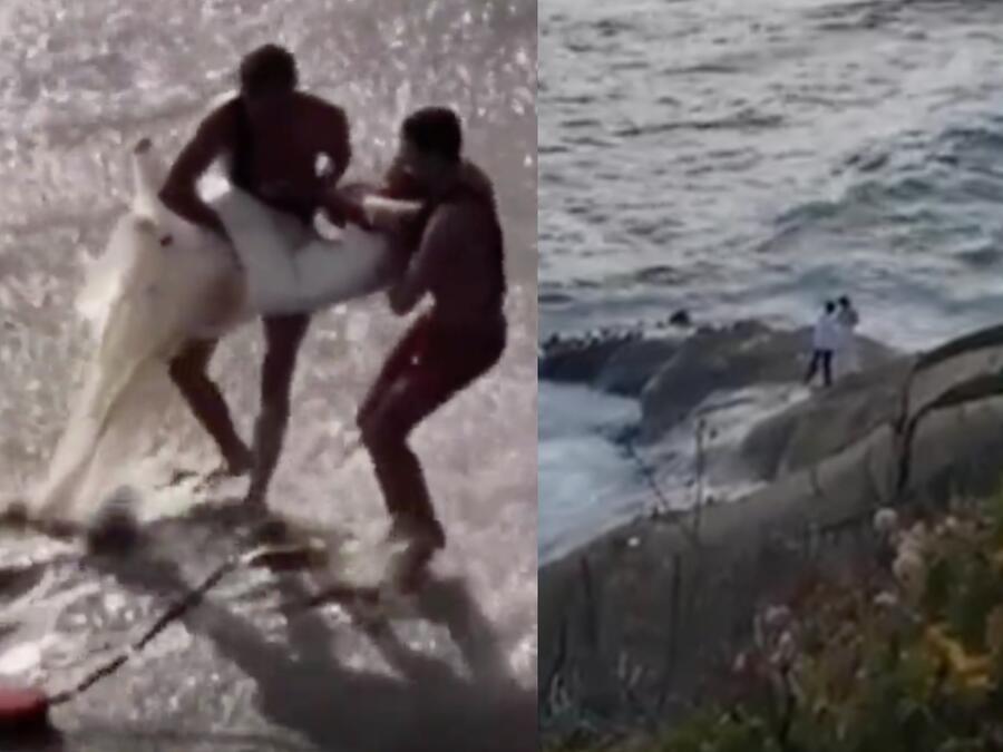 Novios tragados por el mar