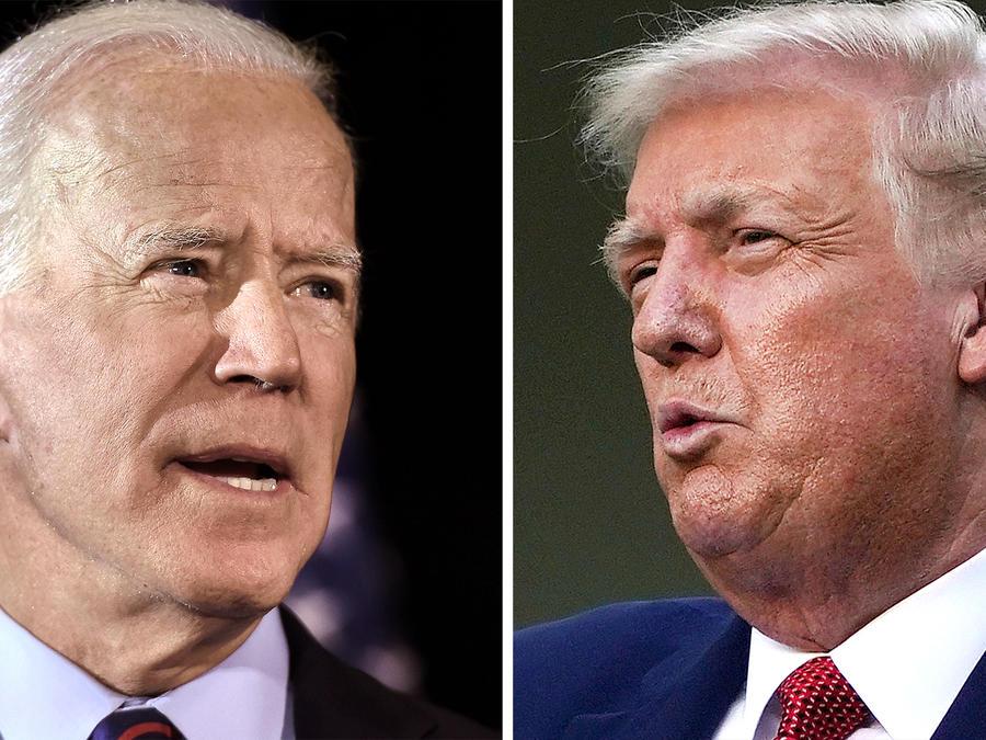 El candidato demócrata Joe Biden, izq., y el presidente Donald Trump se enfrentarán cara a cara por primera vez el 29 de septiembre en Cleveland, Ohio.