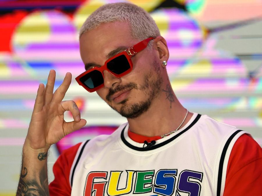 J Balvin  at the Universal Music offices in Mexico City 2020