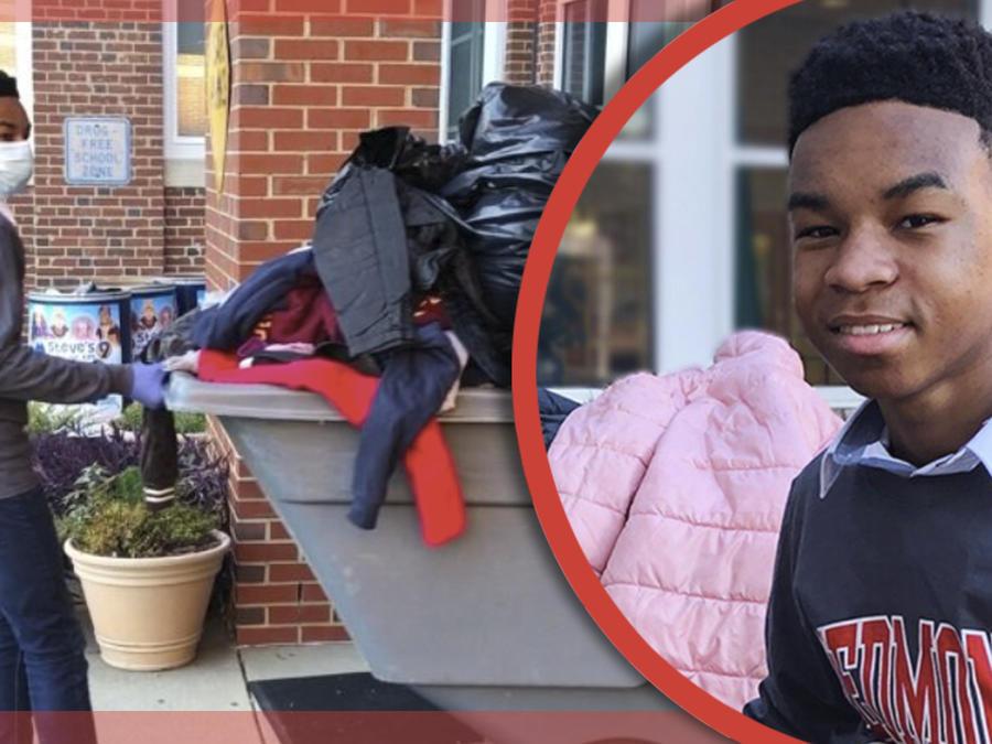 Niño recolecta abrigos