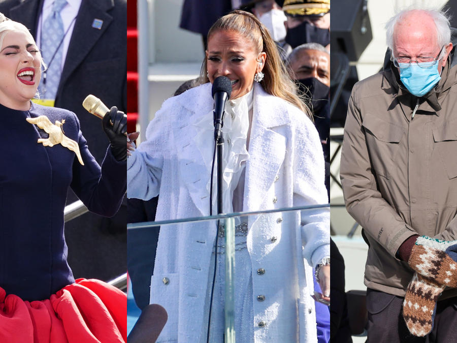 Lady Gaga, Jennifer Lopez y Bernie Sanders en la investidura de Joe Biden