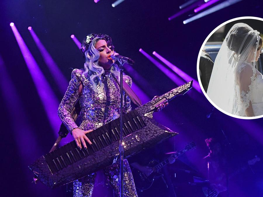 Lady Gaga en escenario, Lady Gaga con vestido de novia