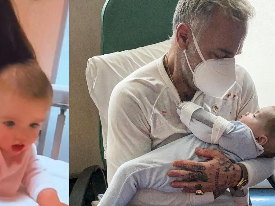 Sharon Fonseca y Gianluca Vacci con su hija, Blu, en el hospital