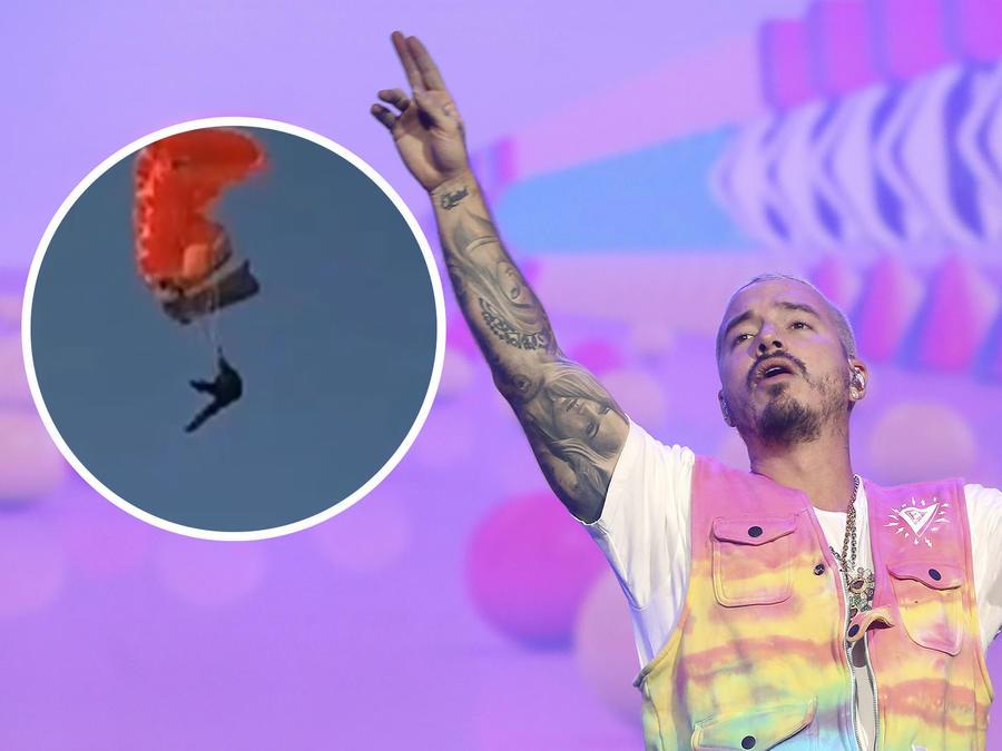 J Balvin saltó en paracaídas.