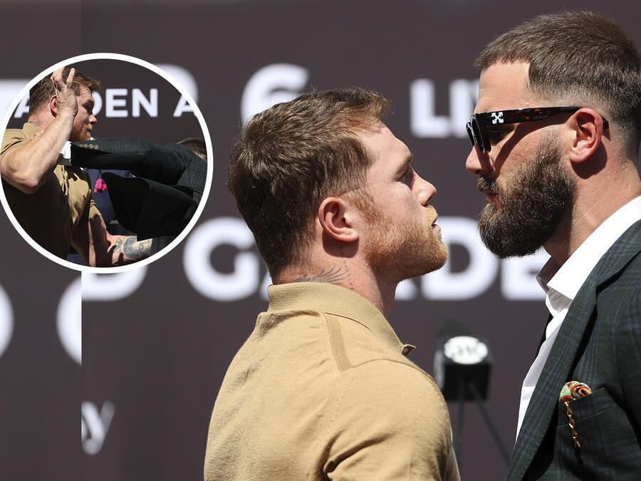 Saúl 'Canelo' Álvarez contra Caleb Plant, golpes en conferencia de prensa.