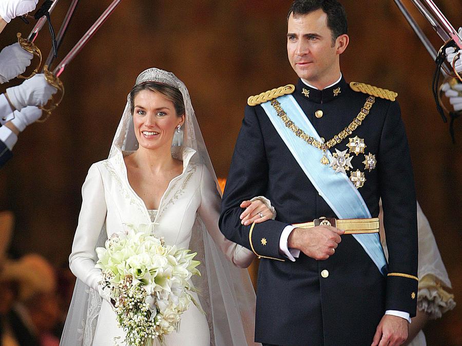 Los reyes Letizia y Felipe el día de su boda, en 2004.