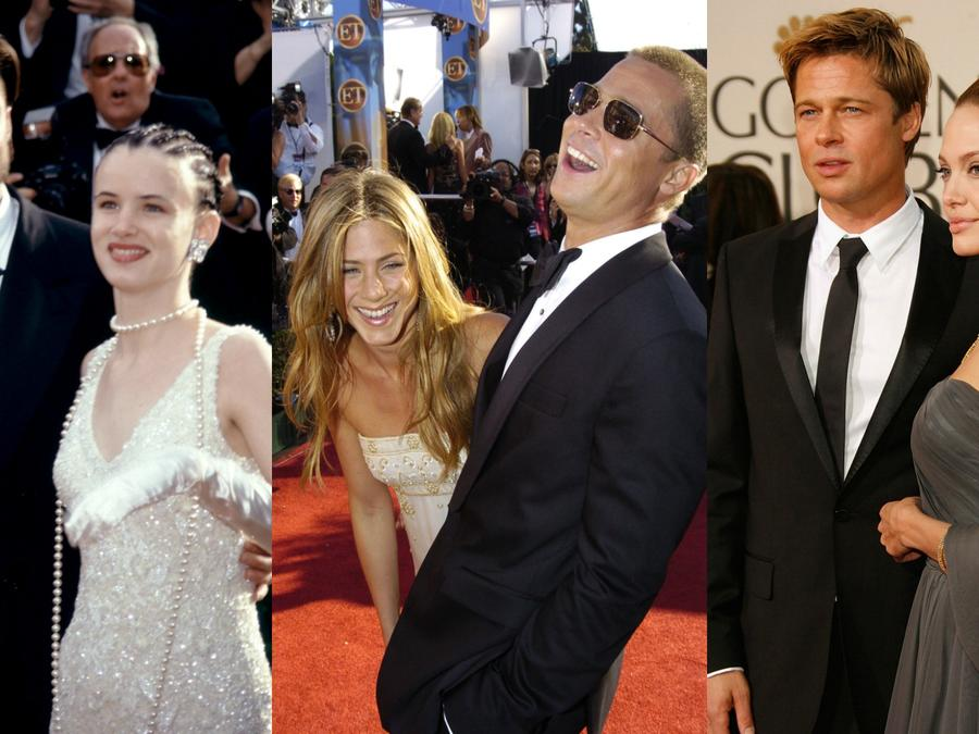 Collage de fotos con Brad Pitt, Juliette Lewis, Jennifer Aniston, Angelina Jolie.