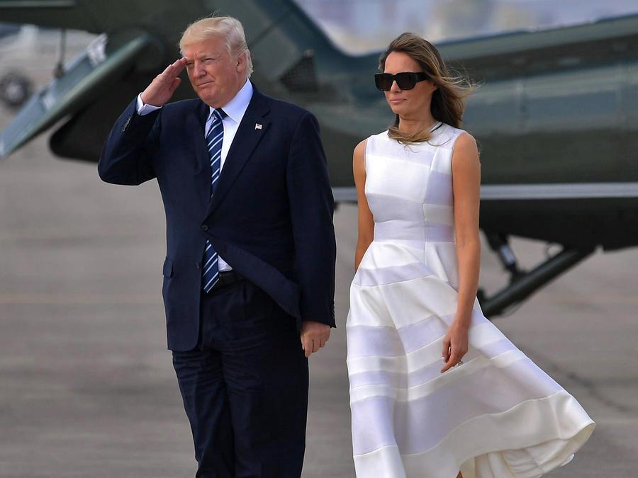 Melania y Donald Trump llegando a Tel Aviv, Israel, mayo de 2017.