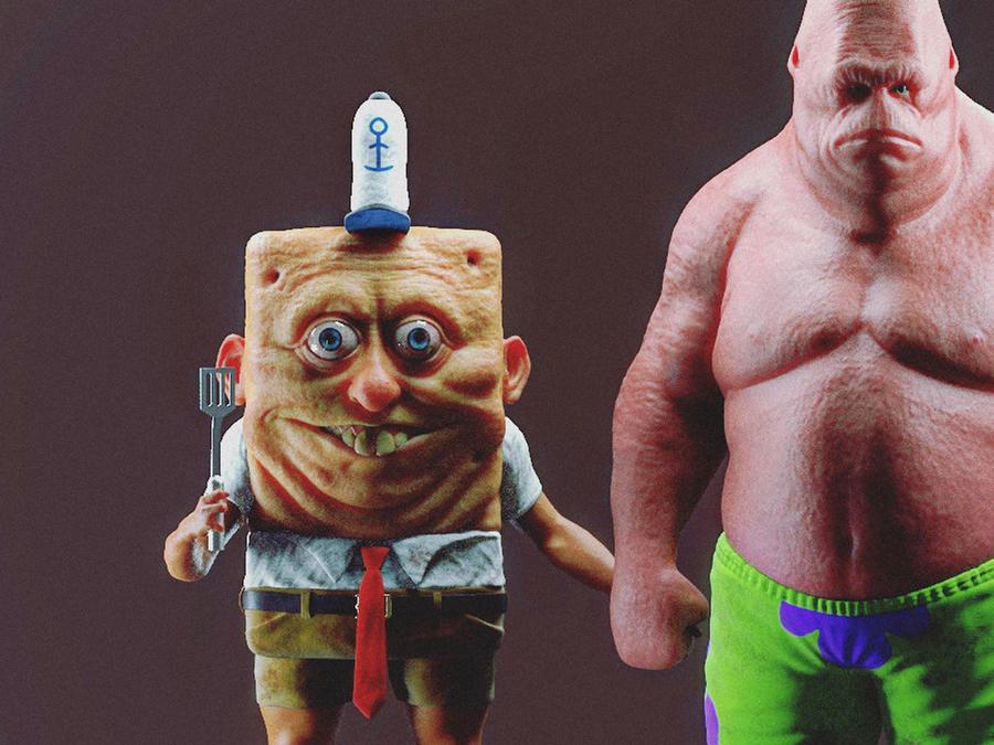 SpongeBob SquarePants y Patrick Star en versión realista 3D.
