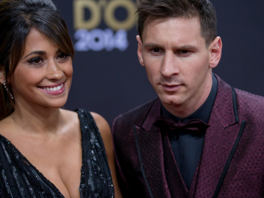 Lionel Messi y Antonella Roccuzzo en FIFA Ballon d'Or Gala 2014.