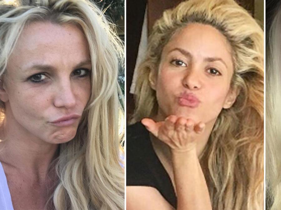 Collage famosas sin maquillaje