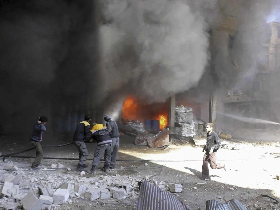 Imágenes de ataques en Siria en una imagen de archivo