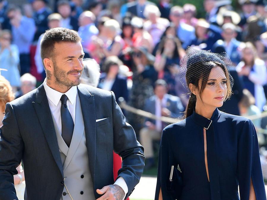 David y Victoria Beckham en la boda del príncipe Harry