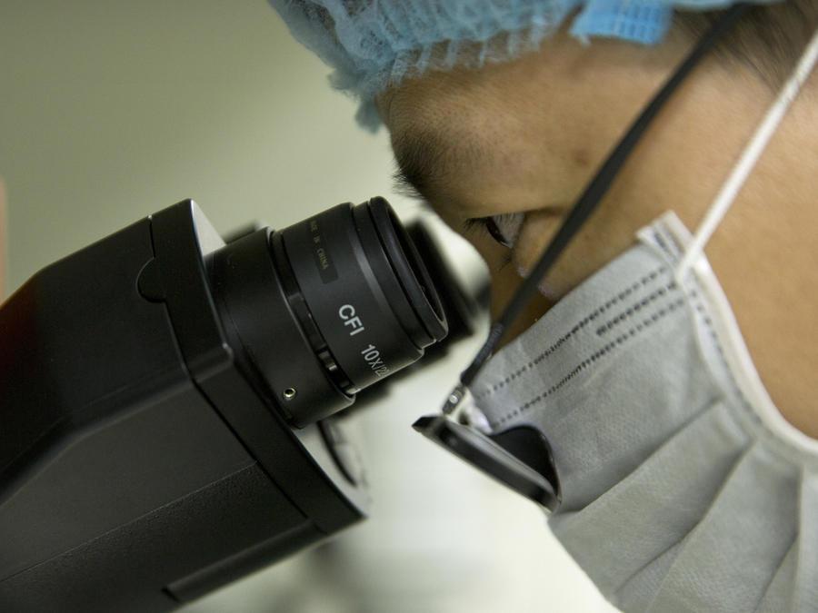 Científico mirando en microscopio
