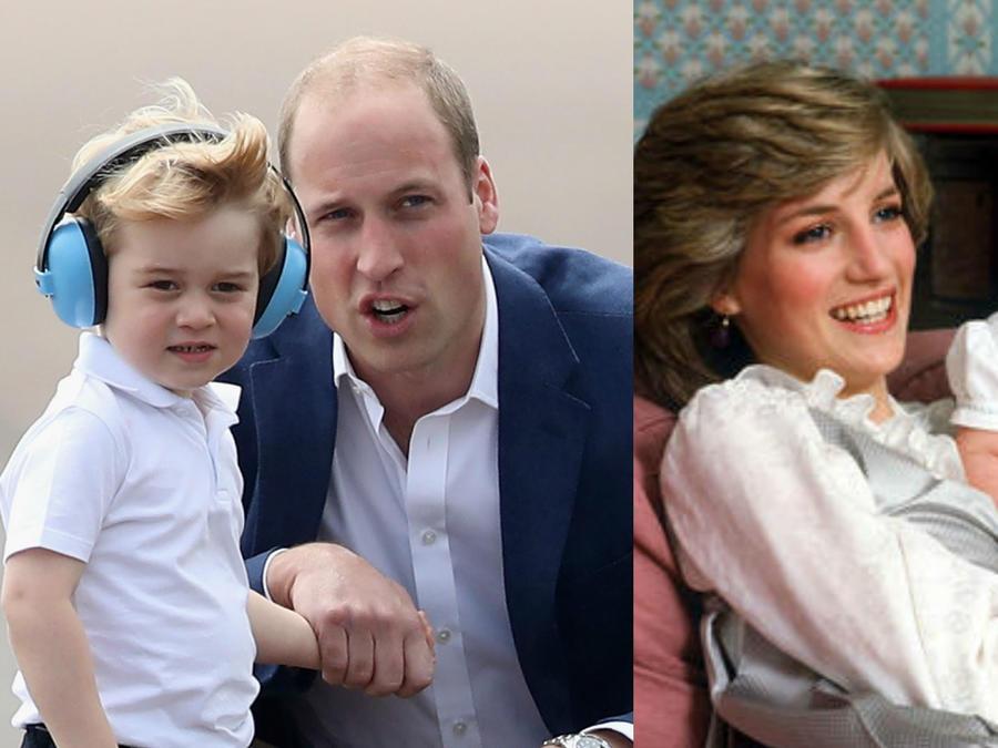Príncipe William, príncipe George y la princesa Diana