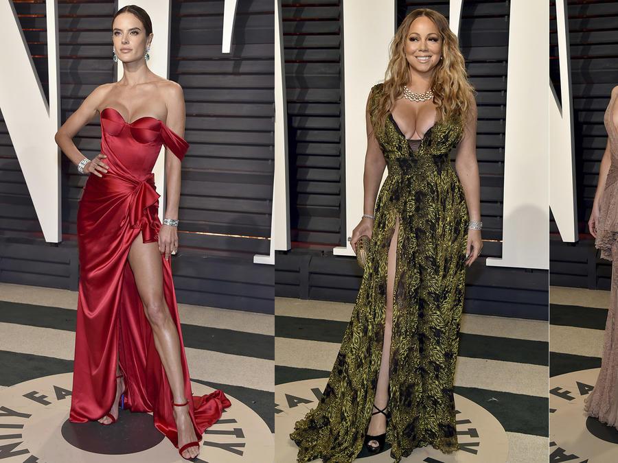 Collage de Alessandra Ambrosio, Mariah Carey y Kate Hudson en la Vanity Fair Oscar Party.