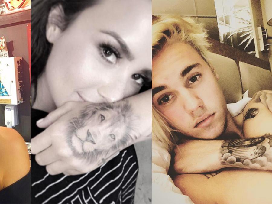 Collage de fotos de Justin Bieber, Demi Lovato y Kendall Jenner.