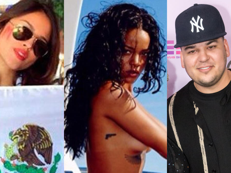Collage de Eiza González, Rihanna, Rob Kardashian