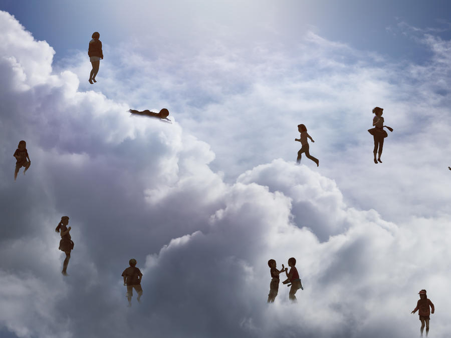 Children playing  on the cloud
