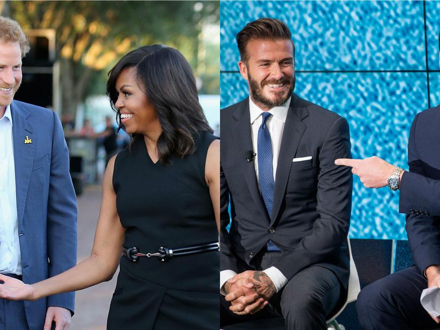 El príncipe Harry con Michelle Obama; David Beckham con el príncipe William