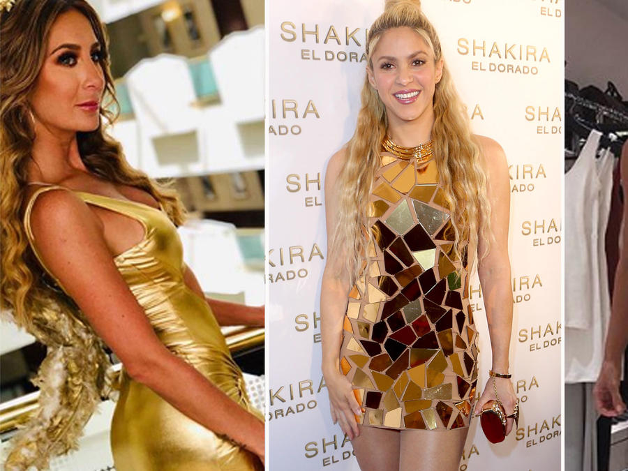 Collage famosas vestidas de dorado